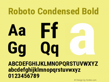 Roboto Condensed Bold Version 2.135 Font Sample