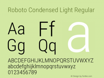 Roboto Condensed Light Regular Version 2.135图片样张