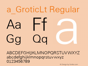 a_GroticLt Regular Version 1.1 - November 1992图片样张