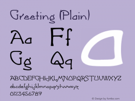Greeting (Plain) 001.000 Font Sample