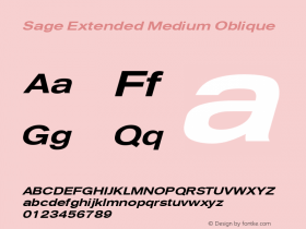 Sage Extended Medium Oblique July 7, 1992; 1.01 Font Sample