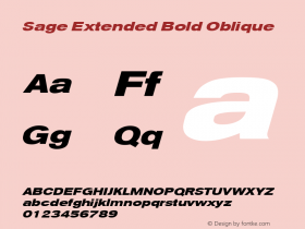 Sage Extended Bold Oblique July 7, 1992; 1.01图片样张