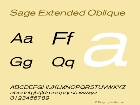 Sage Extended Oblique July 7, 1992; 1.01图片样张