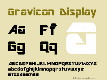 Gravicon Display Altsys Fontographer 4.0.3 03.06.1994 Font Sample