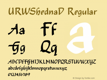 URWShednaD Regular Version 001.005 Font Sample