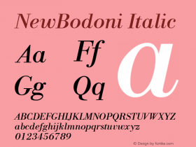 NewBodoni Italic 1.0 Thu Jul 07 10:48:14 1994 Font Sample