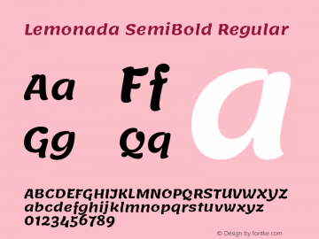 Lemonada SemiBold Regular Version 3.007;PS 003.007;hotconv 1.0.88;makeotf.lib2.5.64775图片样张