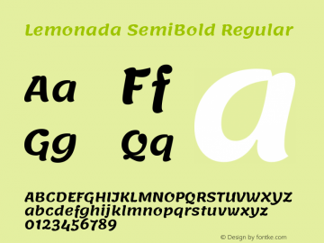 Lemonada SemiBold Regular Version 3.007图片样张