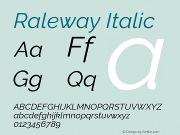 Raleway Italic Version 4.010 Font Sample
