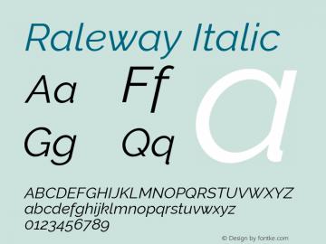 Raleway Italic Version 4.010 Font Sample