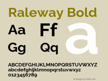 Raleway Bold Version 4.010 Font Sample