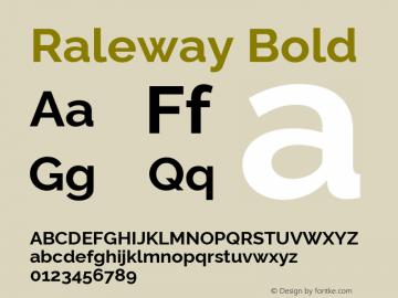 Raleway Bold Version 4.010 Font Sample