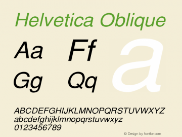 Helvetica Oblique Version 001.003 Font Sample