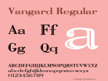 Vangard Regular Media Graphics International: Publisher's Paradise (TM) October 1994 Font Sample
