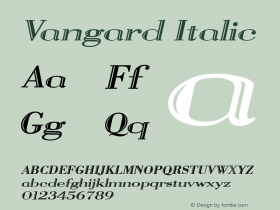 Vangard Italic The IMSI MasterFonts Collection, tm 1995, 1996 IMSI (International Microcomputer Software Inc.) Font Sample
