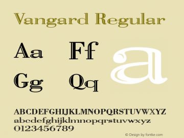 Vangard Regular The IMSI MasterFonts Collection, tm 1995, 1996 IMSI (International Microcomputer Software Inc.) Font Sample