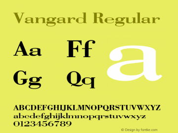 Vangard Regular Altsys Metamorphosis:7/7/94 Font Sample