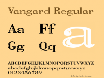 Vangard Regular Print Artist: Sierra On-Line, Inc. Font Sample