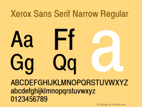 Xerox Sans Serif Narrow Regular 1.1图片样张