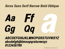 Xerox Sans Serif Narrow Bold Oblique 1.1 Font Sample