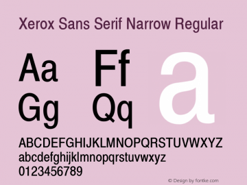 Xerox Sans Serif Narrow Regular 1.1 Font Sample