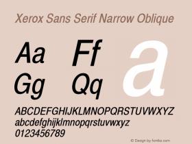 Xerox Sans Serif Narrow Oblique 1.1 Font Sample