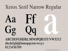 Xerox Serif Narrow Regular 1.1 Font Sample