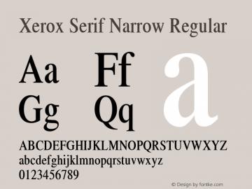 Xerox Serif Narrow Regular 1.1 Font Sample