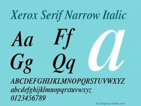 Xerox Serif Narrow Italic 1.1图片样张