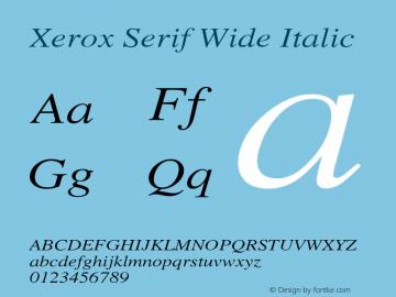 Xerox Serif Wide Italic 1.1图片样张