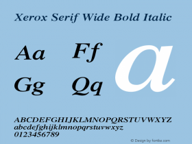 Xerox Serif Wide Bold Italic 1.1图片样张