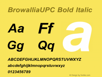 BrowalliaUPC Bold Italic Version 2.1 - July 1995 Font Sample