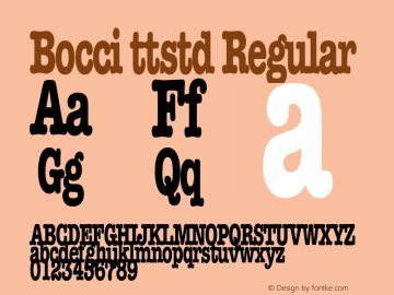 Bocci ttstd Regular Altsys Metamorphosis:11/12/94 Font Sample