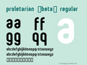 proletarian (beta) Regular Macromedia Fontographer 4.1 97/06/13 Font Sample