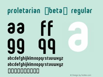 proletarian (beta) Regular Macromedia Fontographer 4.1 97/06/13 Font Sample