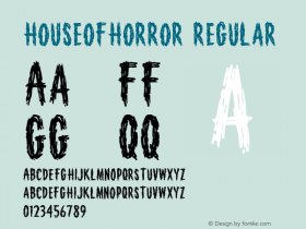 HouseofHorror Regular Macromedia Fontographer 4.1 12/26/97 Font Sample