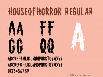 HouseofHorror Regular Macromedia Fontographer 4.1 9/20/98 Font Sample
