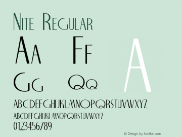 Nite Regular Altsys Fontographer 3.5  6/15/93 Font Sample