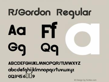 RSGordon Regular Macromedia Fontographer 4.1 12/20/97 Font Sample