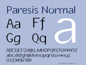 Paresis Normal 1.0 Tue Oct 11 17:45:20 1994 Font Sample