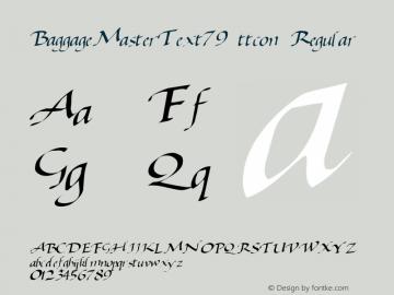 BaggageMasterText79 ttcon Regular Altsys Metamorphosis:10/27/94 Font Sample