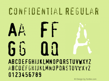 Confidential Regular Converted from e:\_downl~1\fonts\_\CONFID~1.TF1 by ALLTYPE Font Sample