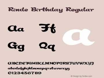 Rinde Birthday Regular Altsys Fontographer 3.5  9/6/94 Font Sample
