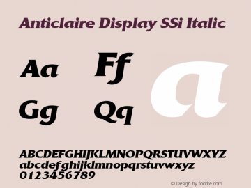 Anticlaire Display SSi Italic 001.001 Font Sample