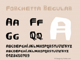 Forchetta Regular Macromedia Fontographer 4.1 12/26/97 Font Sample