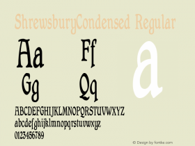 ShrewsburyCondensed Regular Macromedia Fontographer 4.1 12/20/97 Font Sample