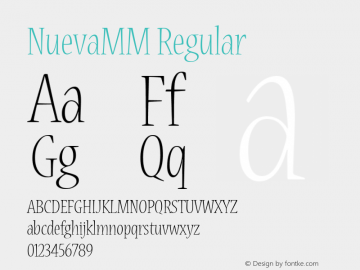NuevaMM Regular Macromedia Fontographer 4.1 12/19/97 Font Sample