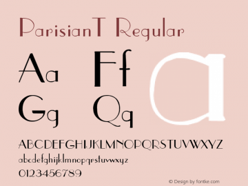ParisianT Regular 1.0 Sun Mar 28 14:47:11 1993 Font Sample