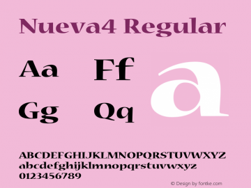 Nueva4 Regular Macromedia Fontographer 4.1 12/19/97 Font Sample