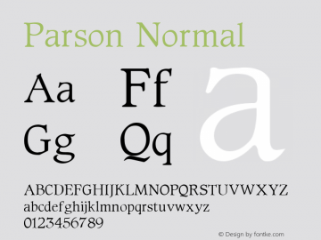 Parson Normal 1.0 Sat Oct 01 15:55:35 1994 Font Sample
